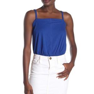 Free People Marissa Ribbed Bodysuit Blue